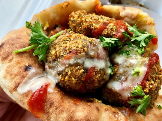 Wikipita's Pita Parker is stuffed with falafel, tahini,