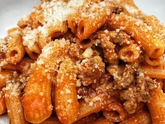 """The """"maccheroni con ragu di salsiccia,"""" pasta with"""