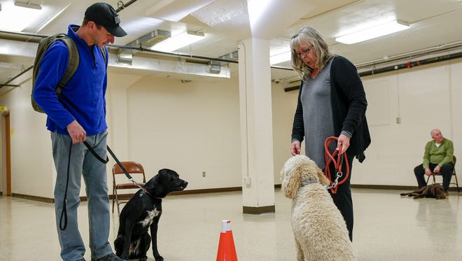 """Ben Baughman, left, with Jango, take part in a """"meet and greet,"""" exercise, with Brenda Ervin and her dog,Savannah, during training Tuesday inside the Rec Center in Chambersburg. Training for the dogs can take a year to two. Brenda Ervin's dog is not one of the dogs in the program."""
