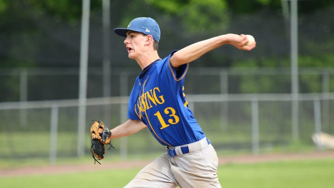 Zack Walker pitches for Lansing in the Class C championship game at Union-Endicott Thursday.