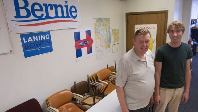 Democratic National Convention delegates Gary Hawley, left, and Matthew LaRonge at the Portage County Democratic Head Quarters in Stevens Point, Thursday, July 21, 2016. Hawley is for Hillary Clinton and LaRonge is for Bernie Sanders.