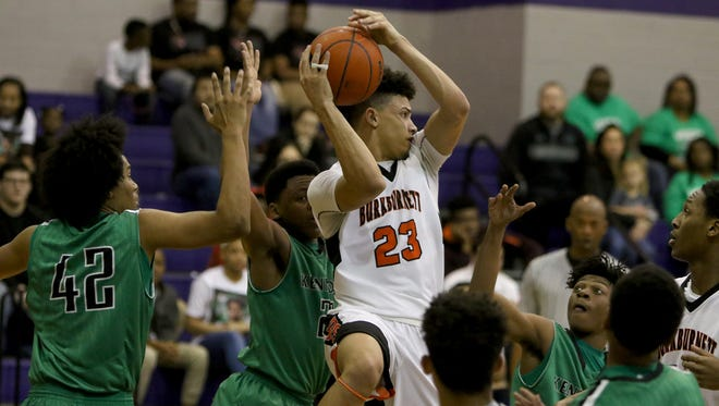 Burkburnett's Darion Chafin grabs the rebound in the Region I-4A area playoff against Kennedale Friday, Feb 24, 2017, in Jacksboro.