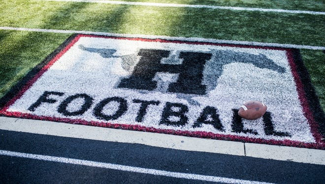 August 25, 2017 - A football rests on the field before the start of Friday night's game between Germantown and Houston at Houston High School.