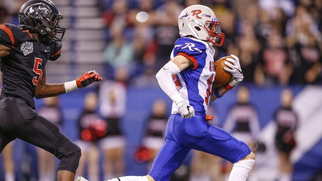 Roncalli's Jacob Luedeman (16) has been a reliable receiver for the Rebels this season.