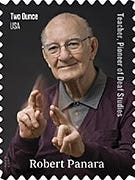 "The stamp honoring Robert Panara shows him signing the word ""respect."""