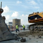 The construction site of the new Detroit Red Wings arena seen on Tuesday, Sept. 1, 2015, in Detroit.