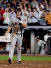 Cleveland Indians' Jay Bruce reacts after striking out with two runners on base to end the top of the eighth inning against the New York Yankees in Game 4 of baseball's American League Division Series, Monday, Oct. 9, 2017, in New York.