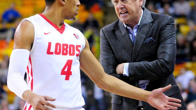 Former New Mexico coach Craig Neal is shown during a 2016 game against Utah State.