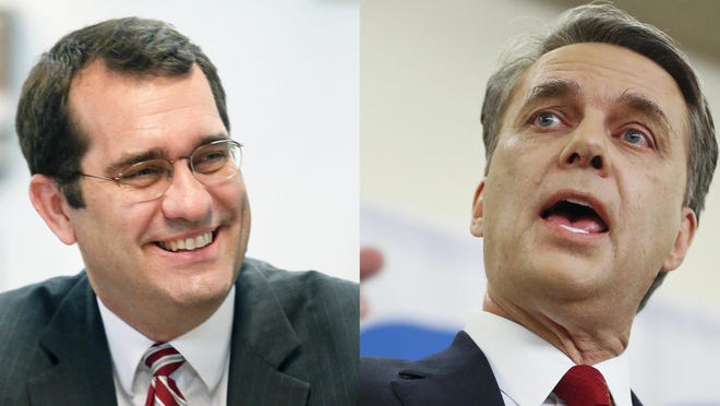 Both Attorney General Derek Schmidt (left) and former Gov. Jeff Colyer are rumored as potential candidates to challenge Gov. Laura Kelly in 2022.