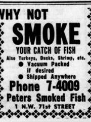 Peters Smoke Fish advertisement on Feb. 12, 1953