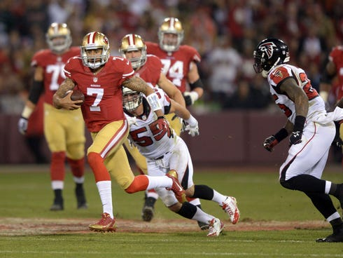 San Francisco 49ers quarterback Colin Kaepernick (7) scrambles from Atlanta Falcons linebacker Paul Worrilow (55) and safety William Moore (25) in the final regular season game at Candlestick Park.