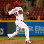 Reds relief pitcher Aroldis Chapman delivers during the ninth inning Monday night at GABP.