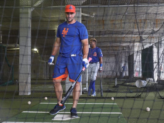 Tim Tebow of the St. Lucie Mets takes batting practice