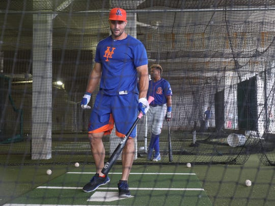 Tim Tebow of the St. Lucie Mets takes batting practice before a game against the Fort Myers Miracle at Hammond Stadium on Monday, July 17, 2017.