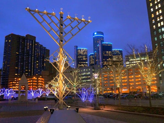 Erik and Israel Norin's Menorah sculpture in Campus Martius, built by the brothers at their Detroit Design Center.