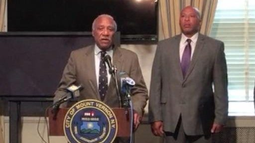 Mount Vernon Mayor Ernie Davis (left) and Police Commissioner Terrance Raynor (right) hold a press conference regarding recent shootings including one where two men were killed.