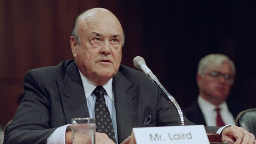 FILE - In this Sept. 1992 file photo, former Defense Secretary Melvin R. Laird testifies on Capitol Hill in Washington. Laird, Defense Secretary under Richard Nixon who helped engineer withdrawal of U.S. troops from Vietnam, has died.