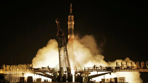 The Soyuz-FG rocket booster with Soyuz MS-03 space ship carrying a new crew to the International Space Station, ISS, blasts off at the Russian leased Baikonur cosmodrome, Kazakhstan, Friday, Nov. 18, 2016. The Russian rocket carries French astronaut Thomas Pesquet, Russian cosmonaut Oleg Novitsky and U.S. astronaut Peggy Whitson.