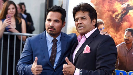 """Michael Pena, left, and Erik Estrada pose at the Los Angeles premiere of """"CHIPS"""" at the TCL Chinese Theatre on Monday, March 20, 2017."""