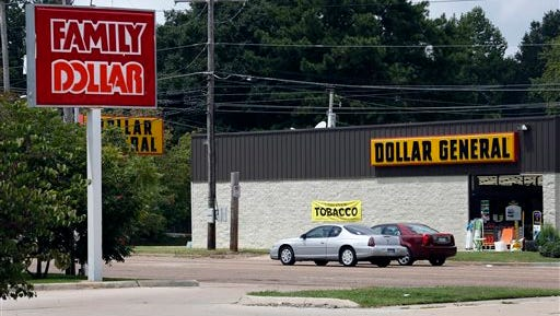 This photo shows the sign for a Family Dollar store across the street from a Dollar General store, in Jackson. Family Dollar Stores Inc. Chairman and CEO Howard Levine said in a statement today that its board and advisers reviewed Dollar General Corp.?s offer and determined it wasn?t reasonably likely to be completed on the terms proposed.