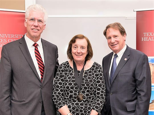 Dr. Maureen Francis, center, professor at the Texas Tech University Health Sciences Center El Paso, Robert Duncan, right, Texas Tech University System chancellor, and Dr. Richard Lange, president of the Texas Tech El Paso campus and dean of the El Paso medical school.