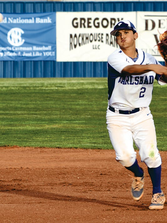 Matt Hollinshead — Current-Argus Cavemen senior second baseman Ryan Garcia gets a put-out in the top of the second inning in game two Friday against Clovis on Friday, April 10. Garcia has been a sturdy presence on defense this season.