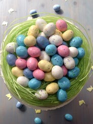 Edible Easter grass and speckled malted milk ball eggs