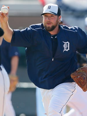 Detroit Tigers catcher Bryan Holaday does a drill March 3, 2015, in Lakeland, Fla.
