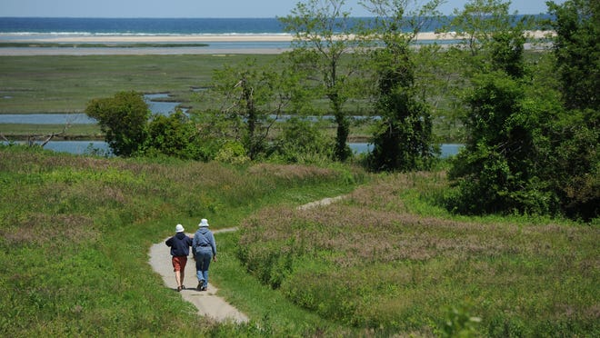 EASTHAM--06/01/12--A couple heads out for a walk at Fort Hill. Merrily Cassidy/Cape Cod Times file