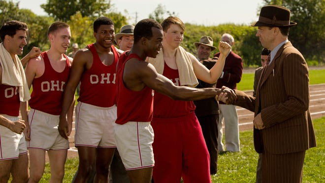 Jesse Owens (Stephan James) and his coach Larry Snyder (Jason Sudeikis) share a moment in 'Race.'