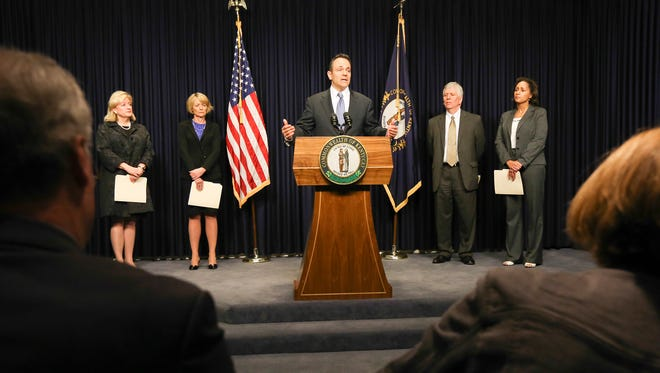 Gov. Matt Bevin speaks during a press conference about Benefind on March 31, 2016.