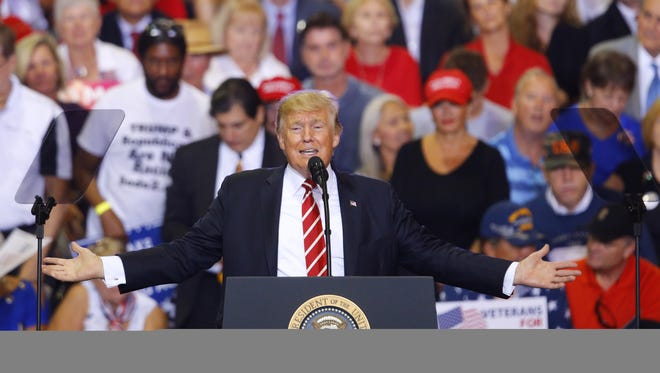 President Donald Trump speaks during the Make America Great Again Rally Tuesday, Aug. 22, 2017, in Phoenix, Ariz.