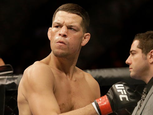 Nate Diaz before fighting Josh Thomson in a UFC lightweight mixed martial arts fight in San Jose, Calif.