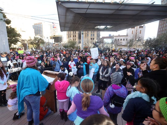 Speakers address the crowd at San Jacinto Plaza during the El Paso 2018 Women's March Sunday.