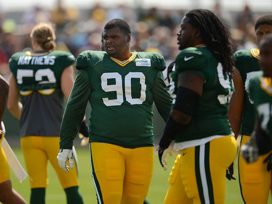 Packers defensive tackle B.J. Raji (90) during training camp practice at Ray Nitschke Field.