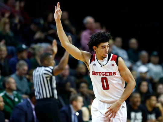 Rutgers sophomore guard Geo Baker leads the 5-1 Scarlet Knights averaging 15.3 points and 5.2 assists per game.