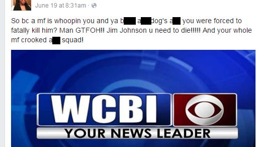 A Facebook user said she thinks the Lee County sheriff should die. He says he's going to have her arrested. (edited for profanity)
