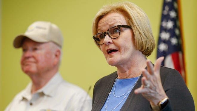 Sen. Claire McCaskill answers questions about the veterans' secret shopper program and other issues like health care and dark money during a press conference on Friday, May 26, 2017, at MSU's Veteran Student Center.