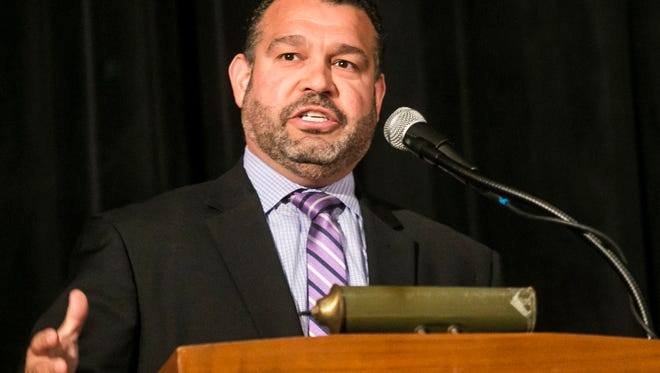 PA Education Secretary Pedro Rivera speaks during the Dover Area High School Agriculture Education Recognition Day on Tuesday, Oct. 11, 2016. This week marks the celebration for the PA Agriculture & Food Career week.  Amanda J. Cain photo