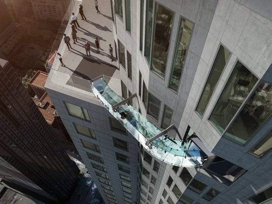 Rendering of the Skyslide made entirely of glass, perched 1,000 feet above downtown LA, the Skyslide will offer guests a unique and exhilarating experience.