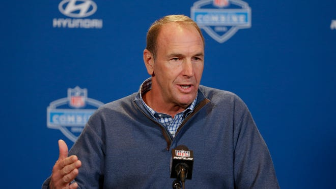 Tennessee Titans head coach Mike Mularkey speaks during a press conference at the NFL football scouting combine in Indianapolis, Wednesday, Feb. 24, 2016.