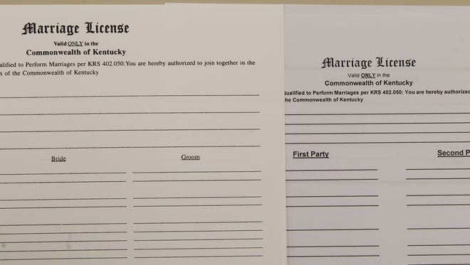 Marriage license applications for the Commonwealth of Kentucky.