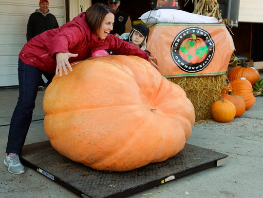 File - Sheila Binder of Plymouth gives her giant pumpkin