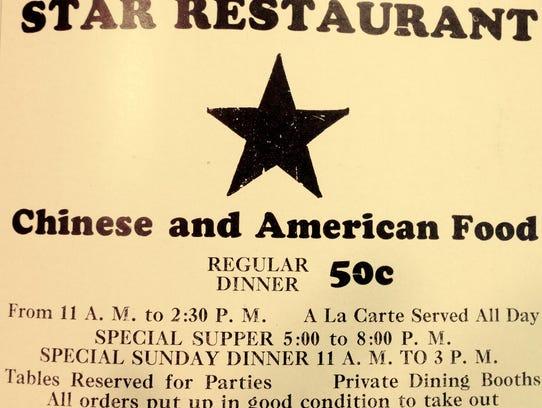 Star Restaurant ad in the Burlington City Directory,