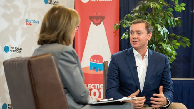Chris Cox, executive director of the NRA Institute for Legislative Action speaks with USA TODAY Washington Bureau chief Susan Page during the 2016 Republican National Convention, July 20, 2016.