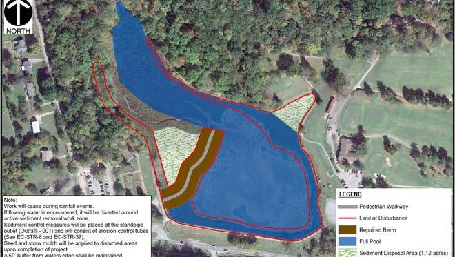 The plan for repairing Swan Lake at Dunbar Cave State Park.