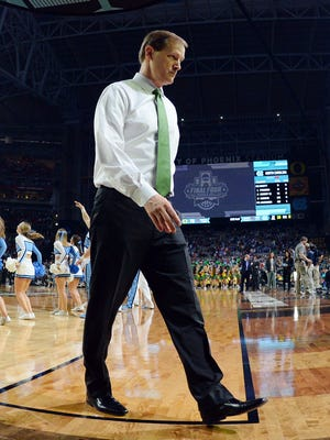 Oregon Ducks head coach Dana Altman walks off the court after the game against the North Carolina Tar Heels in the semifinals of the 2017 NCAA Men's Final Four at University of Phoenix Stadium.