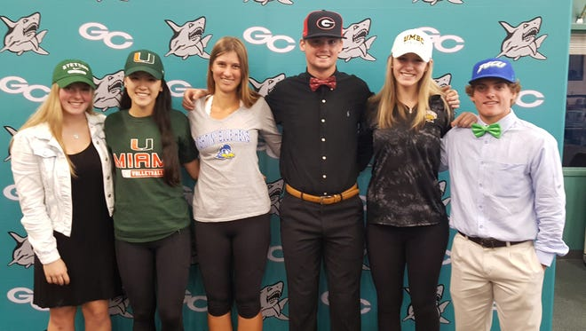 Six Gulf Coast High School athletes signed letters of intent to play their sports at Division I colleges on Monday, Nov. 13, 2017. L to R: Jordan Cloutier, basketball, Stetson; Emily Damon, volleyball, Miami; Viva Laas, tennis, Delaware; Shane Marshall, baseball, Georgia; Gabrielle Curran, volleyball, University of Maryland, Baltimore County; Drake Dobyanski, baseball, FGCU.