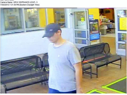 Cornwall Borough Police Department is searching for this man in connection with an incident on July 30 in Mt. Gretna Campmeeting  section of West Cornwall Township. The photos were taken at the Lebanon WalMart. The man may reside in the Mt. Gretna area. The security photos were taken at the Lebanon WalMart.   Anyone with information is asked to contact Officer Candace Miller, 717-274-2071, or cmiller@cornwallpd.org.   Photo courtesy of the Cornwall Borough Police Department