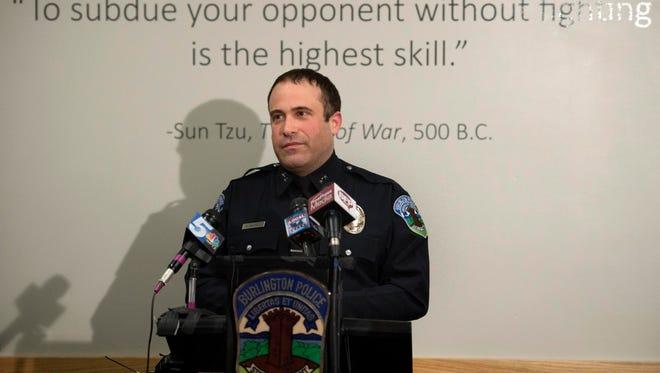 Burlington Police Chief Brandon del Pozo in a 2016 photo.
